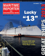 Maritime Reporter Magazine Cover Dec 2013 - Great Ships of 2013