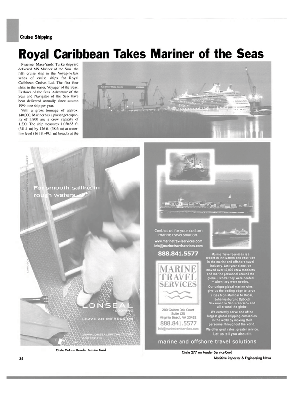 Maritime Reporter Magazine, page 34,  Mar 2004 marine travel solution