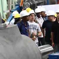 Maritime Cadets tour the plant (Photo: SUNY Maritime)
