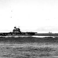 USS Enterprise (CV-6) steaming at high speed during the Battle of Midway (Official U.S. Navy Photograph, U.S. National Archives.)