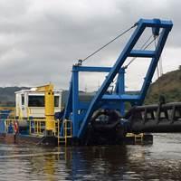 "Rohr-Idreco RISD 600 (24"") 100' digging depth dredge for removal of sedimentation behind the Inga dam in the Democratic Republic of Congo (Photo: Ellicott Dredges)"