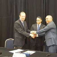 René H. Berkvens, Damen Shipyards Group CEO; Eugene Rhuggenaath, Minister of Economic Development; and Getmar Caldera, Managing Director CDM Holding (Photo: Damen)