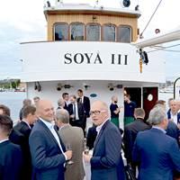 Mingling onboard M/S Soya III during PureBallast ballast water treatment system 10-year anniversary (Photo: Alfa Laval)