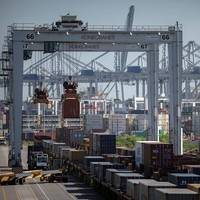 The Port of Savannah is poised to rapidly increase service to an arc of inland markets, from Atlanta to Memphis, to St. Louis, Chicago and the Ohio Valley. Key to expanding rail service is a $128M project linking Garden City Terminal's two rail yards.   (Georgia Ports Authority / Stephen B. Morton)