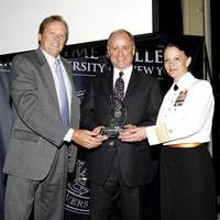 left to right: Jim Lawrence, chairman, Marine Money; Tom Crowley; and RADM Wendi B. Carpenter, USN, (Ret.), President, SUNY Maritime College.