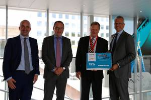 From left to right: Mark Guenter, Key Client Manager, Maersk Line; Michael Hansen, Global Head of Sales, Maersk Line; Cas Pouderoyen, Senior Vice President for Global Ocean Freight, Agility Logistics; Vincent Clerc, CCO, Maersk Line