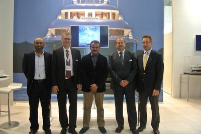 L to R: Ahmed Amin - Manager Business Relations Drydocks World, Peter Kneipp MD - Lürssen, Khamis Juma Buamim Chairman of Drydocks World & Maritime World , Joerg Ahrens, Sales Manager Lürssen & Dr. Markus Voege, VP – Operations & Production of Drydocks World