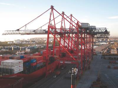 Liebherr Ship to Shore Cranes Working at Exolgan Container Terminal, Buenos Aires, Argentina
