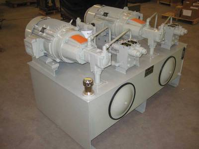 This dual hydraulic power unit has an internal divider that creates complete isolation between the two redundant hydraulic systems.