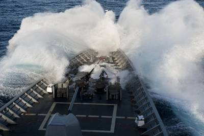 USS Cowpens in Heavy Weather: Photo credit USN