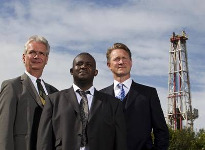 Ian Phillips, director of  CO2DeepStore Limited and the SPE board member managing the OAAs,  SPE Chairman Anthony Onukwu, of ITF, and  Leo Koot, TAQA Bratani managing director