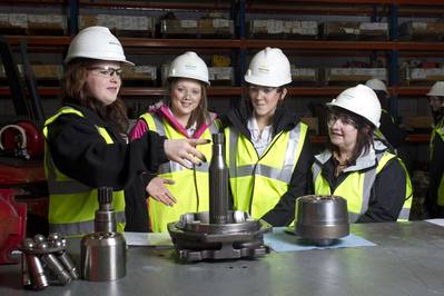 Katy Crawford from Sparrows with Mintlaw Academy pupils Abby Thompson, Rebecca Tosh and course co-ordinator Heather Sim as part of the Girls into Energy program.