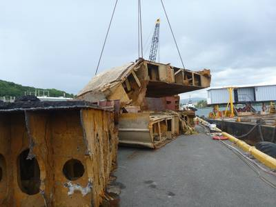 Resolve Marine Group Crews Offload Final Section: Photo credit USCG