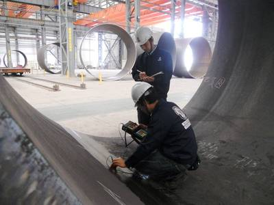 BV Inspectors Check Pipe Piles: Photo credit BV