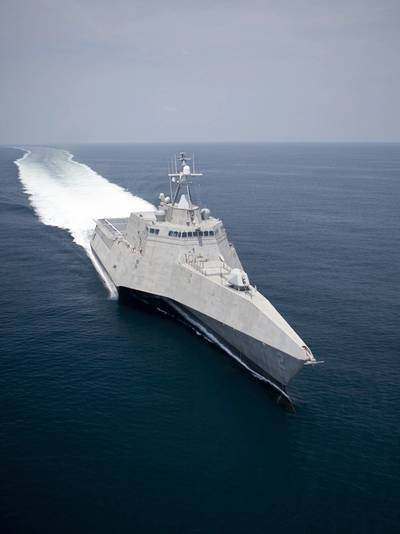 Shown is USS Independence (LCS 2) during sea trials in the Gulf of Mexico. Two LM2500 aeroderivative gas turbines arranged in a COmbined Diesel and Gas turbine (CODAG) configuration with two diesel engines power the Austal-built LCS. Photo courtesy of Austal USA.