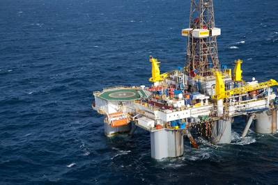The semi-submersible drilling rig, WilPhoenix, on which TWMA's TCC RotoMill technology is operating.