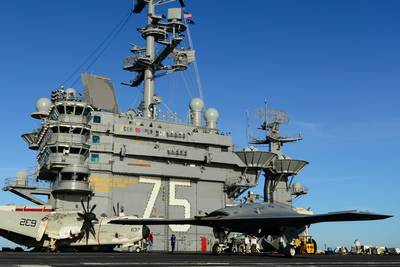 Unmanned Aircraft on Carrier Trial: Photo credit USN