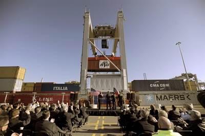 GPA Unveils ERTG crane: Photo credit Georgia Port Authority