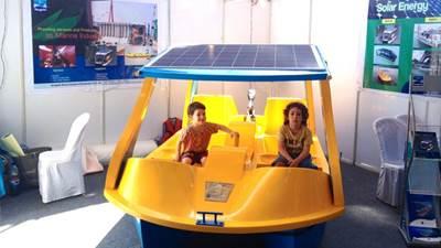 Solar Boat: Photo credit Navgathi