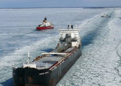 The U.S. Coast Guard Cutters Mackinaw and Neah Bay break track lines for a commercial vessels in Lake St. Clair, Jan. 12, 2010