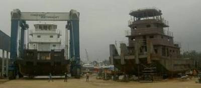A Towboat Under Construction: Photo credit Horizon Shipbuilding