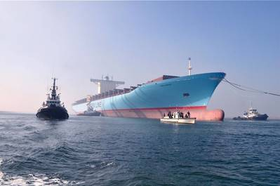 'Emma Maersk' Europe-bound Under Tow: Photo credit Maersk Line