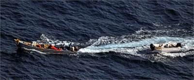 The Pirate Skiffs: Photo credit EU NAVFOR