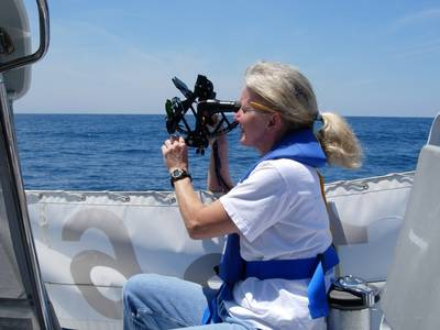 Gail Taking a Sight: Photo credit Marion Bermuda Race
