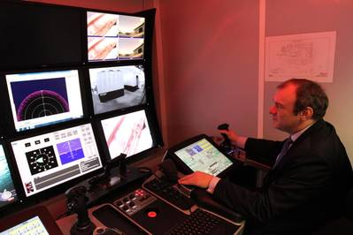 Photo: ROVOP. Rt Hon Ed Davey takes the controls of an ROV during his visit to ROVOP.