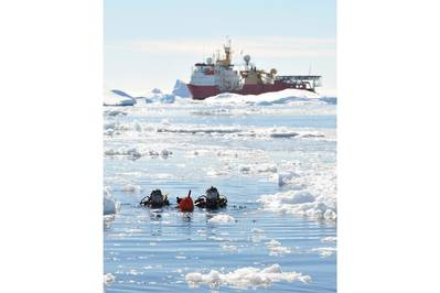 Antarctic Divers Front HMS Protector: Photo courtesey of UK MOD