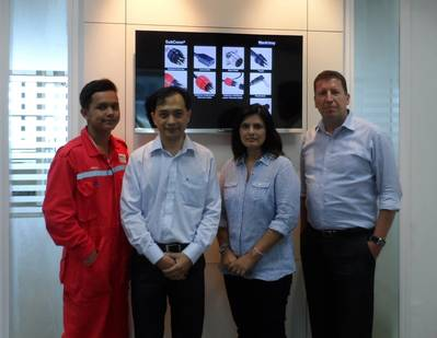 The MacArtney Singapore Team - From left to right Workshop Technician Akmal Syafiq Bin Marzuki, Item Sales Manager Tan Chew Leng, Office Manager Nafisa King and Channel Sales Manager Steen Frejo. Photo: MacArtney
