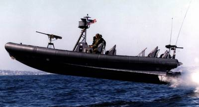 Naval Special Warfare (NSW) 11-meter Rigid-Hull Inflatable Boat (RIB) during a training exercise conducted by Naval Amphibious Base (NAB) Coronado, San Diego. The airborne launch shown here is not uncommon for such craft.  Landings are characterized by high-acceleration impacts that may be damaging to structure, mechanical and electrical systems, and people. (U.S. Navy photo)