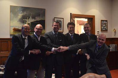 From left to right :  Edward Gatt/Elisabeth Ltd; John Eldridge/Aspin Kemp & Associates (AKA); Ard Jan Kooren/Kotug International BV; Arnout Damen/Damen Shipyards Group; Todd Barber/Robert Allan Limited; Evan Willemsen/KST b.v. (Rotortug)