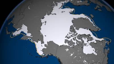 Arctic Ice-melt boundaries. The orange line indicates the median extent for the period 1979-2000. Photo: NOAA