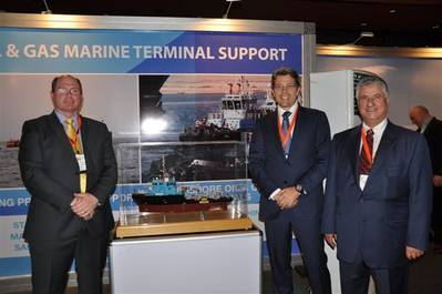 Ian David Hugo, Managing Director AfrikDelta Marine Ltd (ADML), Daan Koornneef Group CEO Smit Lamnalco and Anwar Jarmakani, Chairman AfrikDelta Marine Ltd at the ADML stand, Nigeria Oil & Gas 2013.