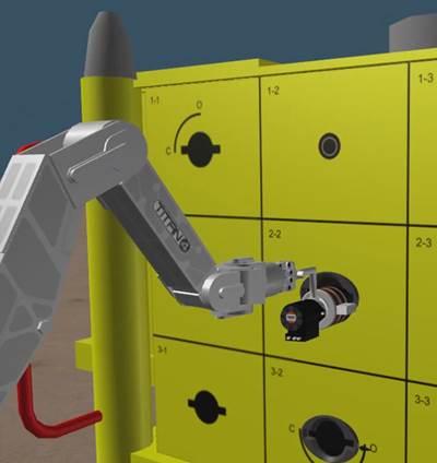 Close up of hot-stab tool simulation