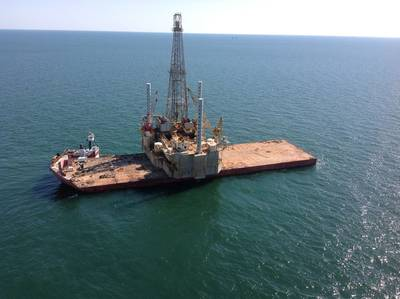The Jack-up Rig: Photo credit Inland Salvage Inc.
