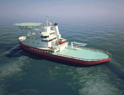 Arctic Oil Spill Icebreaker: Image courtesy of Aker Arctic Technology