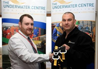 Lee Duncan, Business Development Manager of C-Tecnics, (left) is pictured with The Underwater Centre's Training Operations Manager, James Ridgeway, Underwater Center's Training Operations Manager.