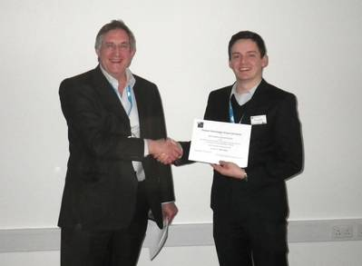 """""""We were delighted to sponsor the prize for best poster,"""" said Chelsea's Technical Director, Dr John Attridge (left). """"For nearly 50 years we have been developing a wide range of in situ sensors and systems and maintain a keen interest in the development and commercialisation of new technologies""""."""
