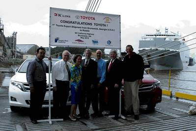 """Officials celebrated the first Toyota Venzas exported from the Port of Brunswick today. Left to right: Yuji Tomokiyo, Senior Executive Coordinator for Toyota; Bill Dawson, GPA's Brunswick General Manager; Corinne Akahoshi, National Marine Export Manager for Toyota; Bob Miller, President of International Auto Processing; Ray Leonard, VP Pacific Region, Car Carrier Division for """"K"""" Line America; Bill Jakubsen, GPA Global Manager of Ro-Ro Bulk and General Cargo, and Scott Heimer, Export Manager for"""