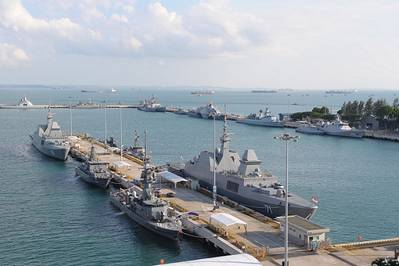 Warships berthed at Changi Naval Base for IMDEX Asia 2013 (Photo: IMDEX Asia)