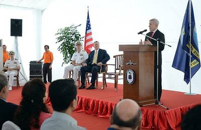 SECNAV Speaks Aboard USS Freedom: Photo credit USN