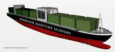 The scaled model ship has been based on a real 13,000 teu container ship. Photo: Warsah Academy