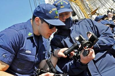 Cadets Handling a Sextant: Photo credit USCG