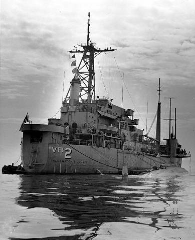 USS Scorpion alongside USS Tallahatchie County (AVB-2) outside Claywall Harbor, Naples, Italy, in April 1968, shortly before she departed on her last voyage. This is believed to be one of the last photographs taken of Scorpion. (Courtesy Lieutenant John R. Holland, Engineering Officer, USS Tallahatchie County, 1969. U.S. Naval History & Heritage Command Photograph)