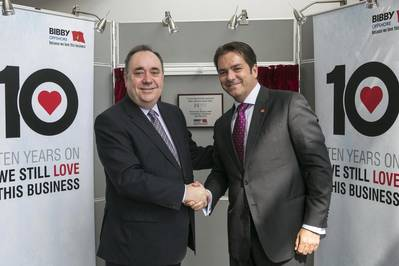 (L-R) First Minister Alex Salmond and Howard Woodcock, chief executive of Bibby Offshore officially open Bibby Offshore's brand new purpose-built headquarters, Atmosphere One in Westhill.