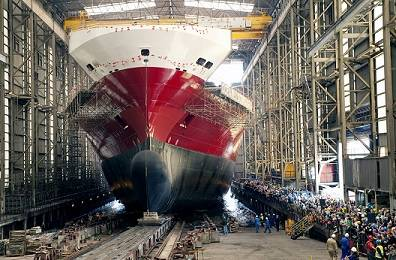The Oceanex Connaigra, launch from the Shipbuilding Hall at Flensburger Shipyard.
