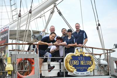 (left to right): Singaporean mountaineer David Lim; Capt. Jonathan Walker (Head of Asia & Australasia, London Offshore Consultants); Nicolas White, Director/Scallywag (London Offshore Consultants, Singapore); Lord Nelson crew members Jim Bek and Ong Shi Yi; British High Commissioner to Singapore, Antony Phillipson.