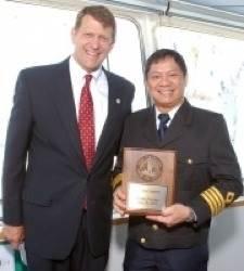 Commissioner Marshall Merrifield & Captain Dave V. Osunero: Photo credit Port of San Diego